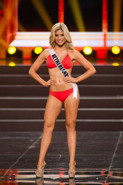 This photo provided by the Miss Universe Organization shows Stephanie Tency, Miss Netherlands 2013, competes in the swimsuit competition during the Preliminary Competition at Crocus City Hall, Moscow, on November 5, 2013. (Photo by Darren Decker/AFP Photo)