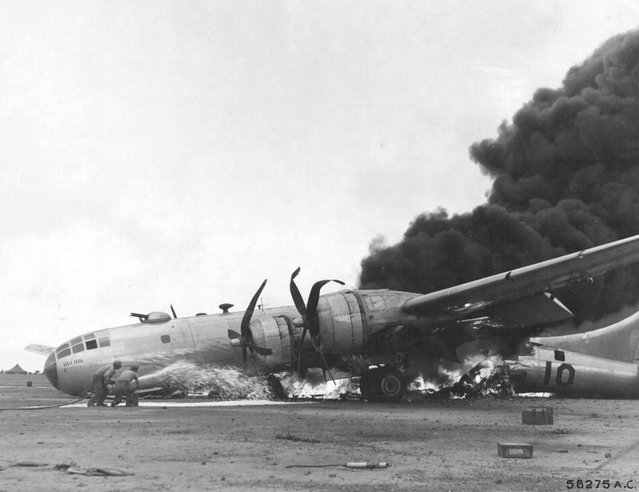 Boeing B-29 (#10) from the 24th Bomb Squadron, 6th Bomb Group after an emergency landing at Iwo Jima on April 24,1945. (Photo by U.S. Air Force)