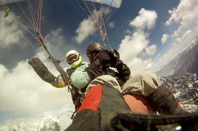 Screenshot of Krystle and Hernan, taken on a foot mounted GoPro. (Photo by Krystle Wright/Caters News)