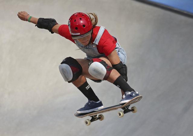 Sakura Yosozumi gets air during one of her runs in the women's skateboard park final at the X Games in Minneapolis, Sunday, July 22, 2018. (Photo by Alex Kormann/Star Tribune via AP Photo)