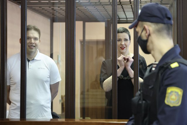 Belarus' opposition activists Maria Kolesnikova, right, and Maxim Znak attend a court hearing in Minsk, Belarus, Monday, September 6, 2021. A court in Belarus on Monday sentenced two leading opposition activists to lengthy prison terms, the latest move in the relentless crackdown Belarusian authorities unleashed on dissent in the wake of last year's months-long anti-government protests. Maria Kolesnikova, a top member of the opposition Coordination Council, has been in custody since her arrest last September. A court in Minsk found her guilty of conspiring to seize power, creating an extremist organization and calling for actions damaging state security and sentenced her to 11 years in prison. Znak was sentenced to 10 years in prison. (Photo by Ramil Nasibulin/BelTA pool photo via AP Photo)