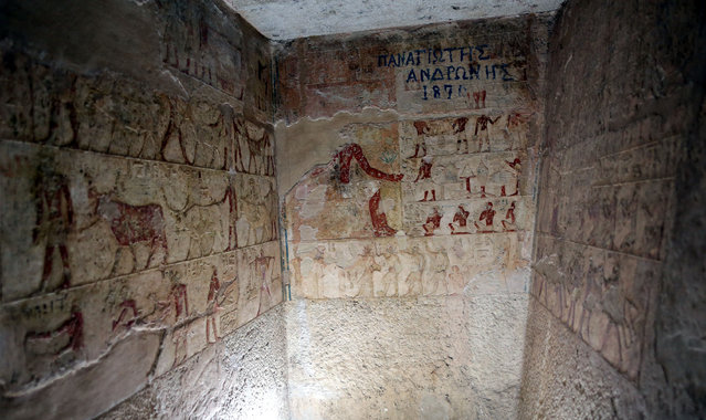 "Paintings and inscriptions resembling the eternal life are seen inside the tomb of ""Emery"" the Priest of Khufu, after it was reopened for visitors, in Giza, Egypt, April 27, 2015. (Photo by Khaled Elfiqi/EPA)"