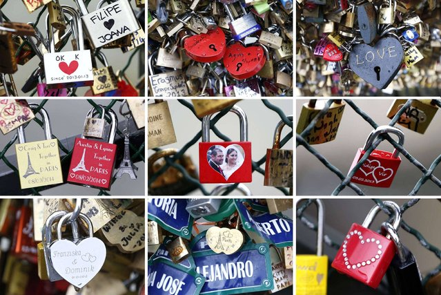 Thousand of padlocks clipped by lovers on the fence of the Pont des Arts over the River Seine. (Photo by Charles Platiau/Reuters)