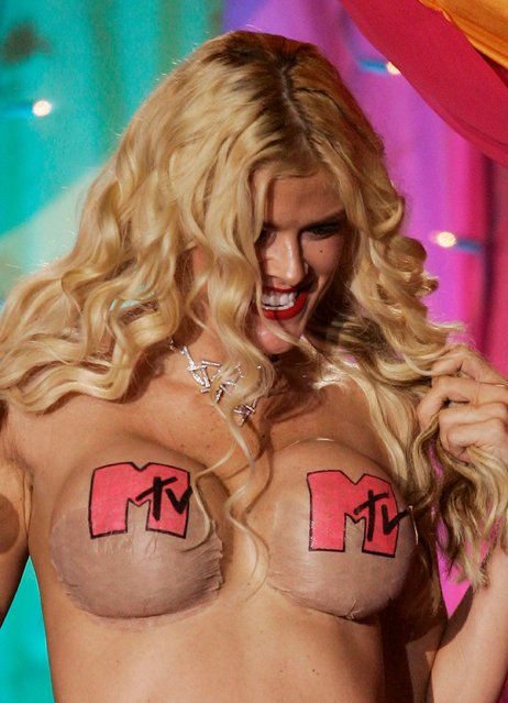 Anna Nicole Smith on stage at the inaugural MTV Australia Video Music Awards at Luna Park on March 3, 2005 in Sydney, Australia. (Photo by Kristian Dowling/Getty Images)