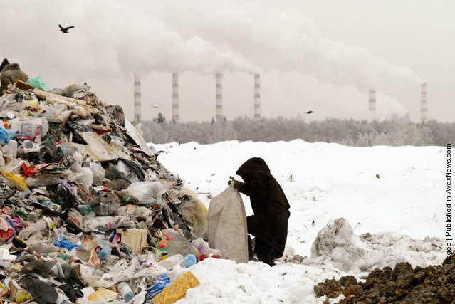 Homeless people scavenge for food on a rubbish tip  near Moscow, Russia