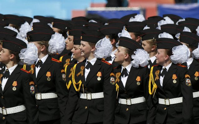 Russian female cadets march during the Victory Day parade at Red Square in Moscow, Russia, May 9, 2015. (Photo by Sergei Karpukhin/Reuters)