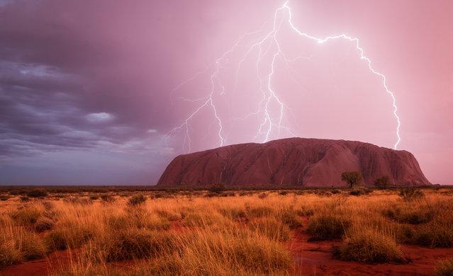 Lightning strikes in the Uluru-Kata Tjuta national park, Australia. (Photo by Christoph Schaarschmidt/2016 National Geographic Travel Photographer of the Year Contest)