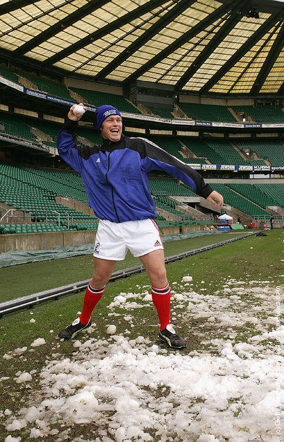 Schalk Burger of South Africa throws a snowball after training for the Rugby Aid match against the Northern Hemisphere during the Southern Hemisphere rugby union training session held at Twickenham