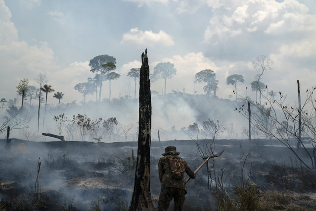 A Brazilian soldier puts out fires at the Nova Fronteira region in Novo Progresso, Brazil, Tuesday, September 3, 2019. Brazilian President Jair Bolsonaro sent the military to help extinguish some fires. Last week, he passed a decree banning most fires for land-clearing for a period of 60 days, although he later limited the ban to the Amazon. (Photo by Leo Correa/AP Photo)