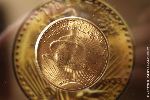 A 'Double Eagle' gold twenty dollar coin