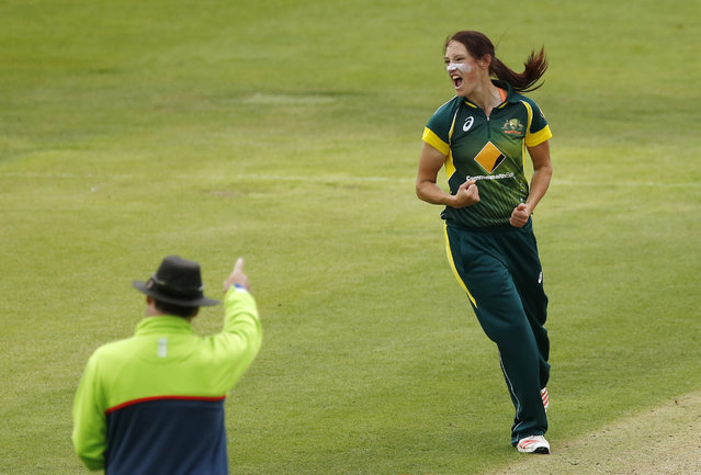 Cricket, England vs Australia, Women's Ashes Series 2015, Second Royal London One Day International – The County Ground, Bristol, on July 23, 2015: Australia's Megan Schutt appeals and takes the wicket of England's Anya Shrubsole (not pictured). (Photo by Andrew Boyers/Reuters/Action Images)
