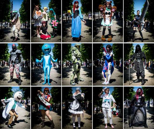 A composite photograph of people in costumes during the MCM Comic Con at ExCeL convention centre in London, United Kingdom on May 26, 2017. (Photo by Lauren Hurley/PA Wire)