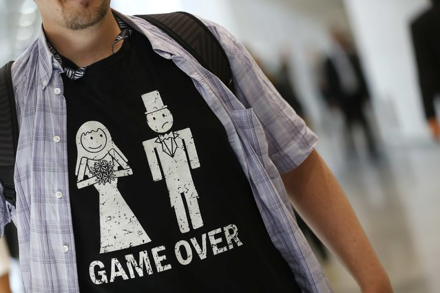 A visitor's shirt is seen during the Gamescom fair in Cologne, Germany August 5, 2015. (Photo by Kai Pfaffenbach/Reuters)