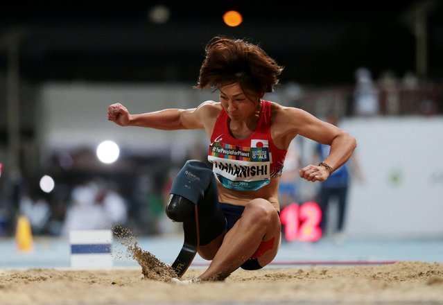 Maya Nakanishi of Japan competes en route to winning the women's T64 long jump at the World Para Athletics Championships in Dubai on November 11, 2019. (Photo by Christopher Pike/Reuters)