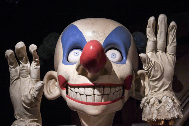 A scary clown exhibit at the launch of a Harry Potter exhibition at Palais 2 of the Brussels Expo in Brussels, Belgium on June 29, 2016. (Photo by Rex Feature/Shutterstock)