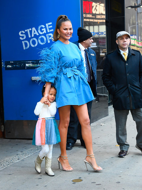 Chrissy Teigen seen outside Good Morning America studios with daughter Luna on February 19, 2020 in New York City. (Photo by Raymond Hall/GC Images)