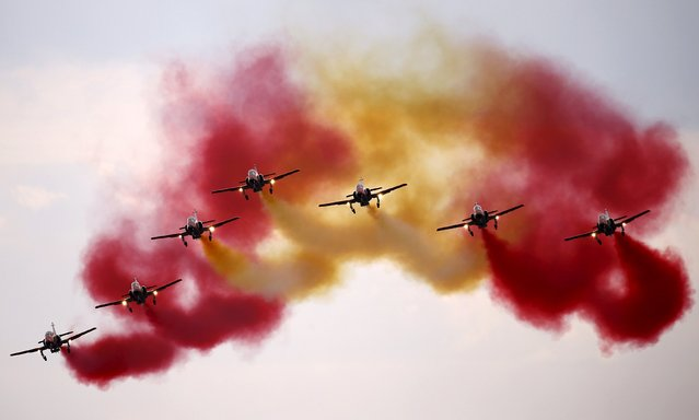 Spanish Patrulla Aguila (C-101), aerobatic demonstration team of the Spanish Air Force performs during the Radom Air Show at an airport in Radom, Poland August 23, 2015. (Photo by Kacper Pempel/Reuters)