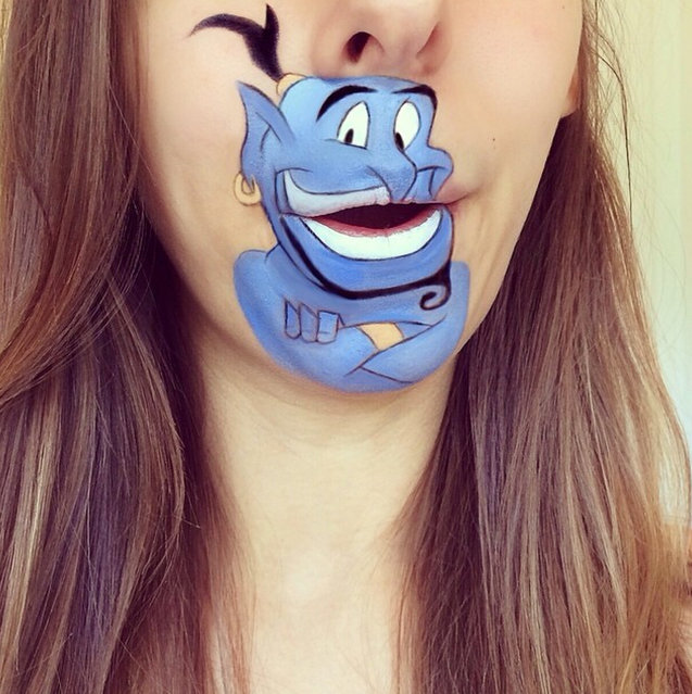 "Makeup artist Laura Jenkinson paints popular cartoon characters on her face, using her own mouth as the teeth and lips of her subjects. Here, Genie from ""Aladdin"" is depicted on Jenkinson. (Photo by Laura Jenkinson/Caters News)"