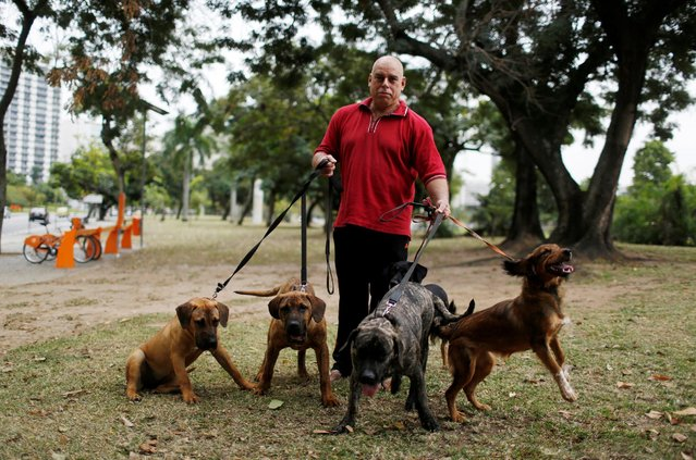 """Manfred Kulitc, a 49-year-old mathematician, poses with his dogs for a portrait in Rio de Janeiro, Brazil, July 20, 2016. When asked what he felt about Rio de Janeiro hosting the Olympics, Manfred said, """"I don't care too much about the Olympics, this country has no infrastructure for an event like this. The real problems of the population have not been resolved"""". He is also concerned for the safety of tourists. (Photo by Pilar Olivares/Reuters)"""
