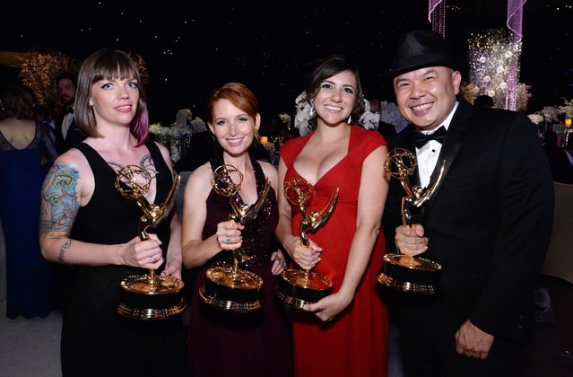 Alexandra Edwards, from left, Tamara Krinsky, Tracy Bitterrolf, and Bernie Su attend the Governors Ball for the Television Academy's Creative Arts Emmy Awards at Microsoft Theater on Saturday, September 12, 2015, in Los Angeles. (Photo by Phil McCarten/Invision for the Television Academy/AP Images)