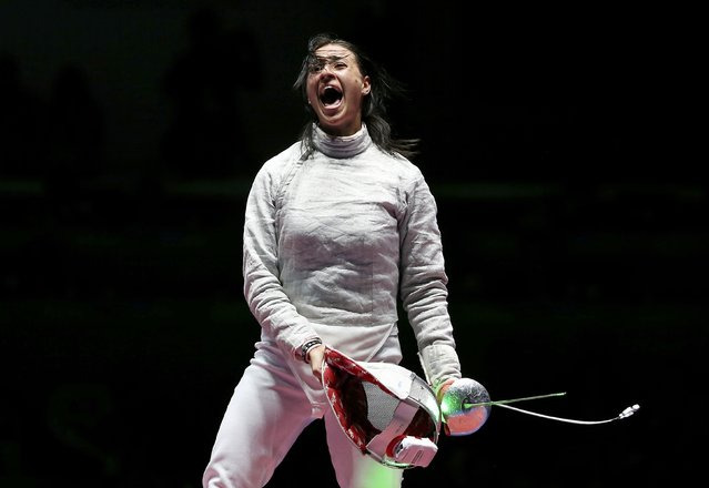 2016 Rio Olympics, Fencing, Final, Women's Sabre Team Gold Medal Match, Carioca Arena 3, Rio de Janeiro, Brazil on August 13, 2016. Yana Egorian (RUS) of Russia celebrates winning the match. (Photo by Toru Hanai/Reuters)