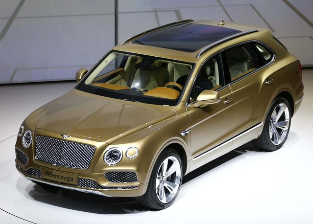 Bentley Bentayga car is presented during the Volkswagen group night ahead of the Frankfurt Motor Show (IAA) in Frankfurt, Germany, September 14, 2015. (Photo by Kai Pfaffenbach/Reuters)