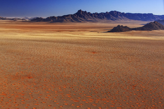"""""""Fairy circles of Namibia"""". This extraterrestrial landscape is called fairy circles, a mysterious natural phenomenon of southwest Africa. They are particularly common in Namibia. They consist of circular patches of barren land, typically around 2-15 meters in diameter, with no vegetation growth, but often encircled with a ring of over grown grasses. Scientists have yet to explain the cause of these circles, although many theories have been put forward, including termites. Photo location: Southern Namibia. (Photo and caption by Yi Sun/National Geographic Photo Contest)"""