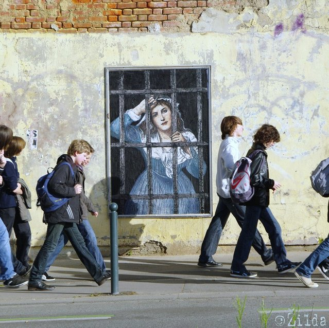 Charlotte Corday (Palimpseste). Paste-up. Acrylic & Oils on paper. RENNES. (Photo by Žilda)