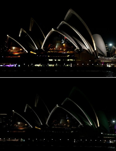 """In this composite image the Opera House is seen before on March 21 (top) and after the lights were powered by """"GreenPower"""" and glowed dark green to recognize Earth Hour on March 23, 2013 in Sydney, Australia. Businesses and households around the world will turn their lights off for on hour at 20:30 local time today, to celebrate Earth Hour, raise awareness about climate change and to show support for the use of renewable energy. Earth hour began in Sydney in 2007 and is now celebrated in over 150 countries around the world. (Photo by Lisa Maree Williams)"""