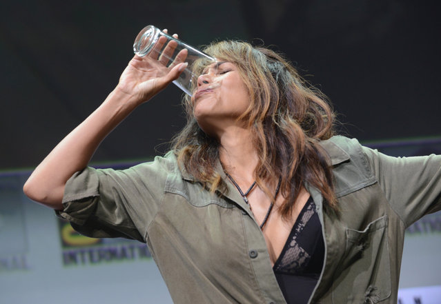 Actor Halle Berry takes a drink onstage at the 20th Century FOX panel during Comic-Con International 2017 at San Diego Convention Center on July 20, 2017 in San Diego, California. (Photo by Albert L. Ortega/Getty Images)