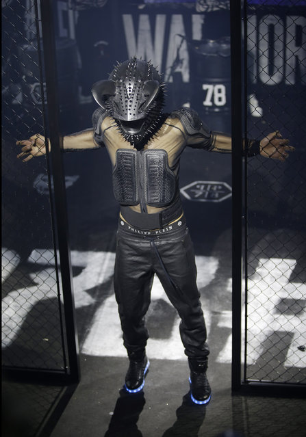 A model wears a creation for Philipp Plein men's Fall – Winter 2015-2016 collection, part of the Milan Fashion Week, unveiled in Milan, Italy, Saturday, January 17, 2015. (Photo by Antonio Calanni/AP Photo)