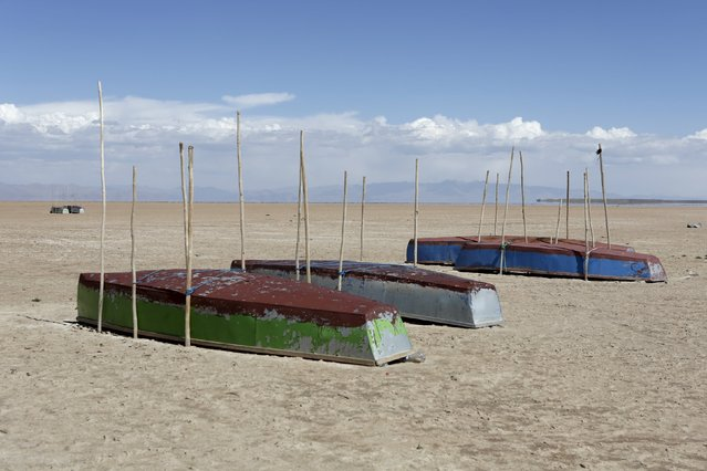 Boats of fishermen are seen on the dried Poopo lakebed in the Oruro Department, south of La Paz, Bolivia, December 17, 2015. Lake Poopo in Bolivia, the Andean nation's formerly second largest after the famed Titicaca, has dried up entirely. With the water now gone, animals have died off in the millions, according to studies. And the local families, having lost much of their sustenance, have been forced to migrate. (Photo by David Mercado/Reuters)