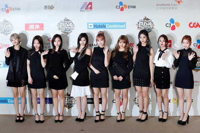 Members of South Korean K-pop band Twice pose on the red carpet during Mnet Asian Music Awards (MAMA) in Hong Kong, China, December 2, 2016. (Photo by Bobby Yip/Reuters)