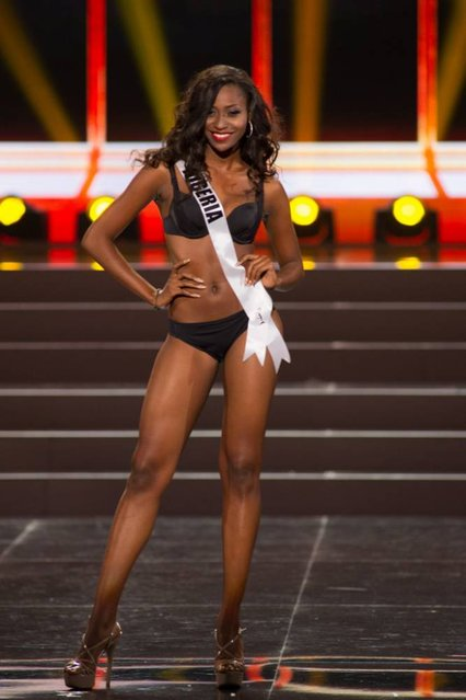 This photo provided by the Miss Universe Organization shows Stephanie Okwu, Miss Nigeria 2013, competes in the swimsuit competition during the Preliminary Competition at Crocus City Hall, Moscow, on November 5, 2013. (Photo by Darren Decker/AFP Photo)