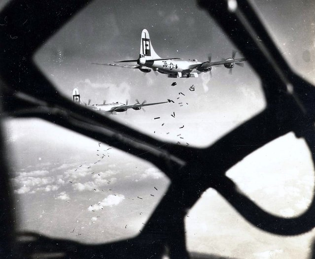 61st Bomb Squadron, 39th Bomb Group, 314th Bomb Wing, 20th Air Force on the bomb run. (Photo by U. S. Air Force)