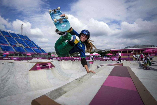 Yndiara Asp of Brazil takes part in a women's Park Skateboarding training session at the 2020 Summer Olympics, Saturday, July 31, 2021, in Tokyo, Japan. (Photo by Ben Curtis/AP Photo)