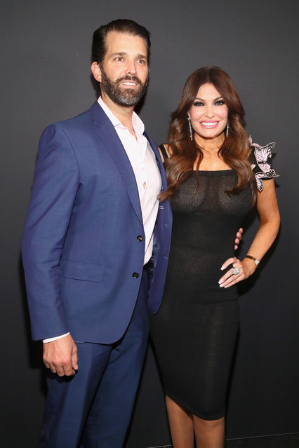 Kimberly Guilfoyle and Donald Trump Jr. pose backstage for Zang Toi fashion show during New York Fashion Week: The Shows at Gallery II at Spring Studios on February 13, 2019 in New York City. (Photo by Astrid Stawiarz/Getty Images for NYFW: The Shows)