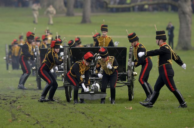 The King's Troop Royal Horse Artillery take part in a ceremony to fire a 41-gun salute to mark the start of Queen Elizabeth's Blue Sapphire Jubilee year at Green Park in central London, Britain, February 6, 2017. (Photo by Hannah McKay/Reuters)
