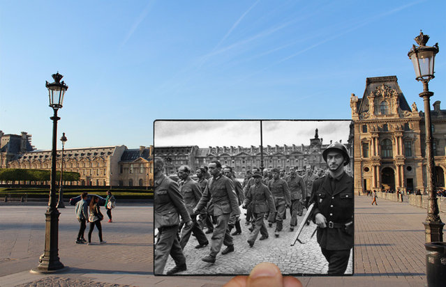 Soldiers outside the Louvre in the 1940s. (Photo by Julien Knez/Caters News)