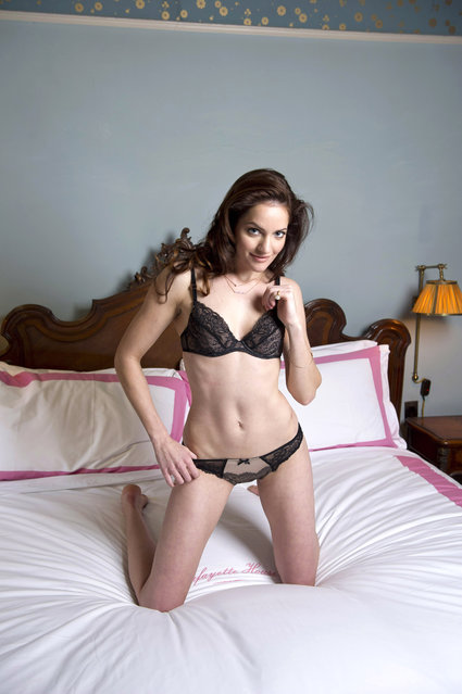 "NEW YORK - FEBRUARY 5: For Pulse, Anniversary of the Bra. Kate Stoltzfus of TLC's ""Breaking Amish"" tv show poses in lingerie at the Lafayette House on January 24, 2014. Styled by Johannah Masters, hair by Damian Monzillo, and makeup by Jen Navaro/JUMP Mgmt. (Anne Wermiel/NY Post)"