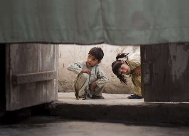 Pakistani children peek under a curtain that hides the residence inside a home of a poor neighborhood in Mingora, in the Swat Valley, Pakistan, Wednesday, November 14, 2012. (Photo by Anja Niedringhaus/AP Photo)