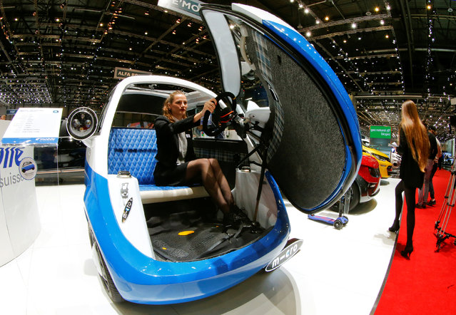 A Micro-Microlino Prototype 1 car is seen during the 87th International Motor Show at Palexpo in Geneva, Switzerland March 8, 2017. (Photo by Arnd Wiegmann/Reuters)