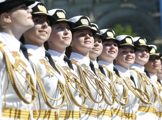 Russian servicewomen march during the Victory Day parade, marking the 71st anniversary of the victory over Nazi Germany in World War Two, at Red Square in Moscow, Russia, May 9, 2016. (Photo by Grigory Dukor/Reuters)