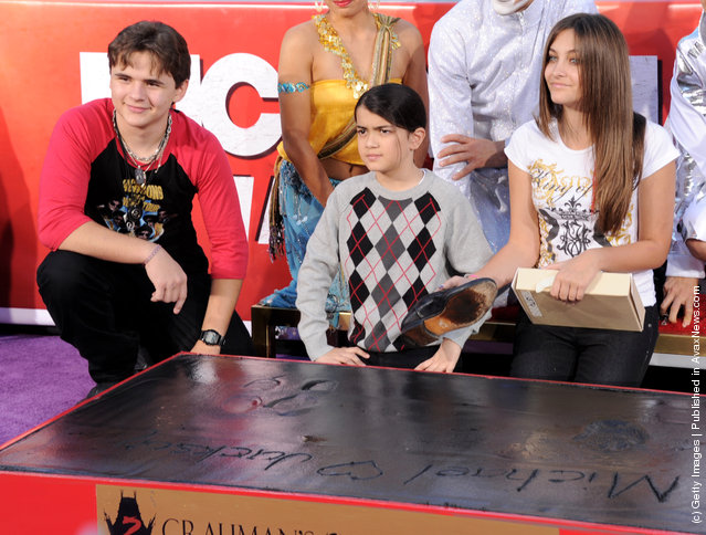 (L-R) Prince Jackson, Blanket Jackson and Paris Jackson appear at the Michael Jackson Hand and Footprint ceremony at Grauman's Chinese Theatre