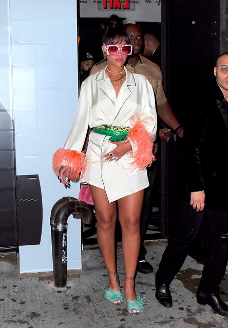 Rihanna Looks like a Diva as she leaves Met Gala After Party at 6am wearing Pajamas and Gucci Sunglasses on May 1, 2017. (Photo by 247PAPS.TV/Splash News and Pictures)