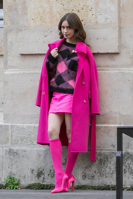 "Actress Lily Collins is seen on the set of ""Emily in Paris"" on November 05, 2019 in Paris, France. (Photo by Marc Piasecki/GC Images)"