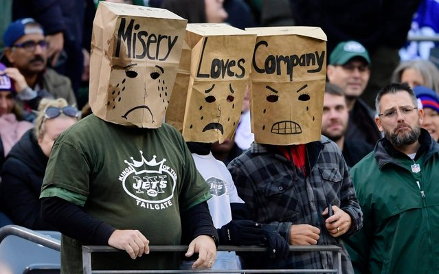 New York Jets fans watch the second half of an NFL football game against the New York Giants, Sunday, November 10, 2019, in East Rutherford, N.J. (Photo by Steven Ryan/AP Photo)