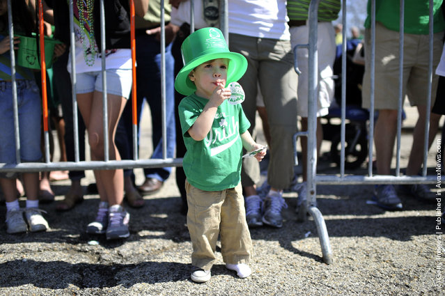 Timmy Karnezis, 2, watches the St. Patrick's Day parade on March 17, 2012 in Chicago