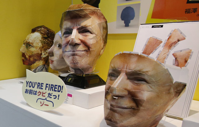 A 3D face puzzle depicting U.S. President Donald Trump made by Japan's toy maker Tenyo is showcased at the International Tokyo toy show in Tokyo, Friday, June 2, 2017. The country's biggest toy show goes through until June 4, 2017. (Photo by Shuji Kajiyama/AP Photo)