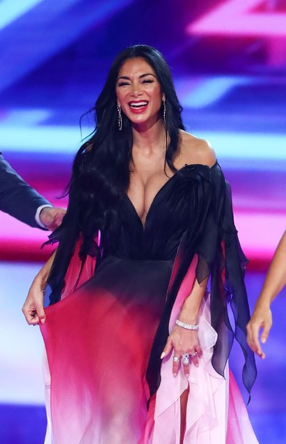 "Nicole Scherzinger reveals her impressive cleavage in plunging gown during ""The X Factor: The Band"" TV show in Birmingham, England on December 15, 2019. (Photo by Dymond/Thames/Syco/Rex Features/Shutterstock)"